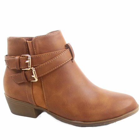 Chase -1 Women's Double Stretch Buckles Almond Toe Low Heel Western Ankle Booties Shoes