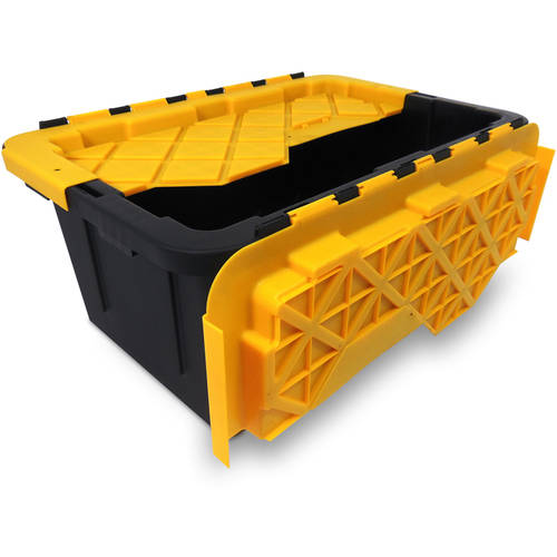 Durabilt 15 Gal. Plastic Tote with Flip Lid, Black/Yellow (Set of 6)