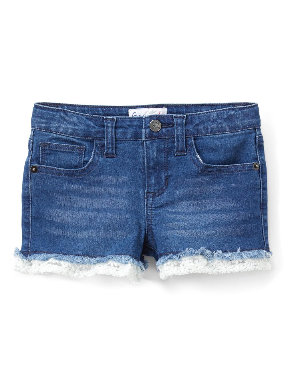 Ruffle Trim Denim Shorts (Toddler Girls)