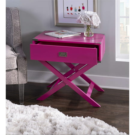 Linon Peggy X Base Wood Accent Table in Pink - image 5 de 11