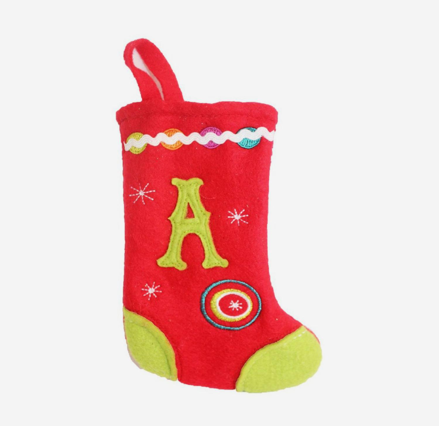 """6.25"""" Red and Green Monogrammed """"A"""" Mini Christmas Stocking"""