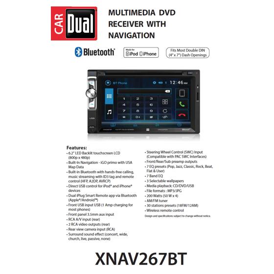 Dual Electronics XNAV267BT 6 2 inch LED Backlit LCD