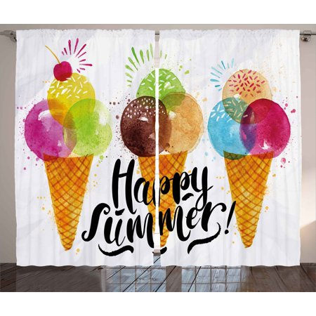 Food Curtains 2 Panels Set, Cute Print of Ice Cream Cones and Fruit Milk Dessert for Kids Sequal Artwork Print, Window Drapes for Living Room Bedroom, 108W X 63L Inches, Multicolor, by Ambesonne](Artwork For Kids)