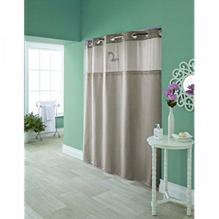 Hookless RBH95MY981 Greige Hudson Herringbone Shower Curtain With Snap In PEVA Liner