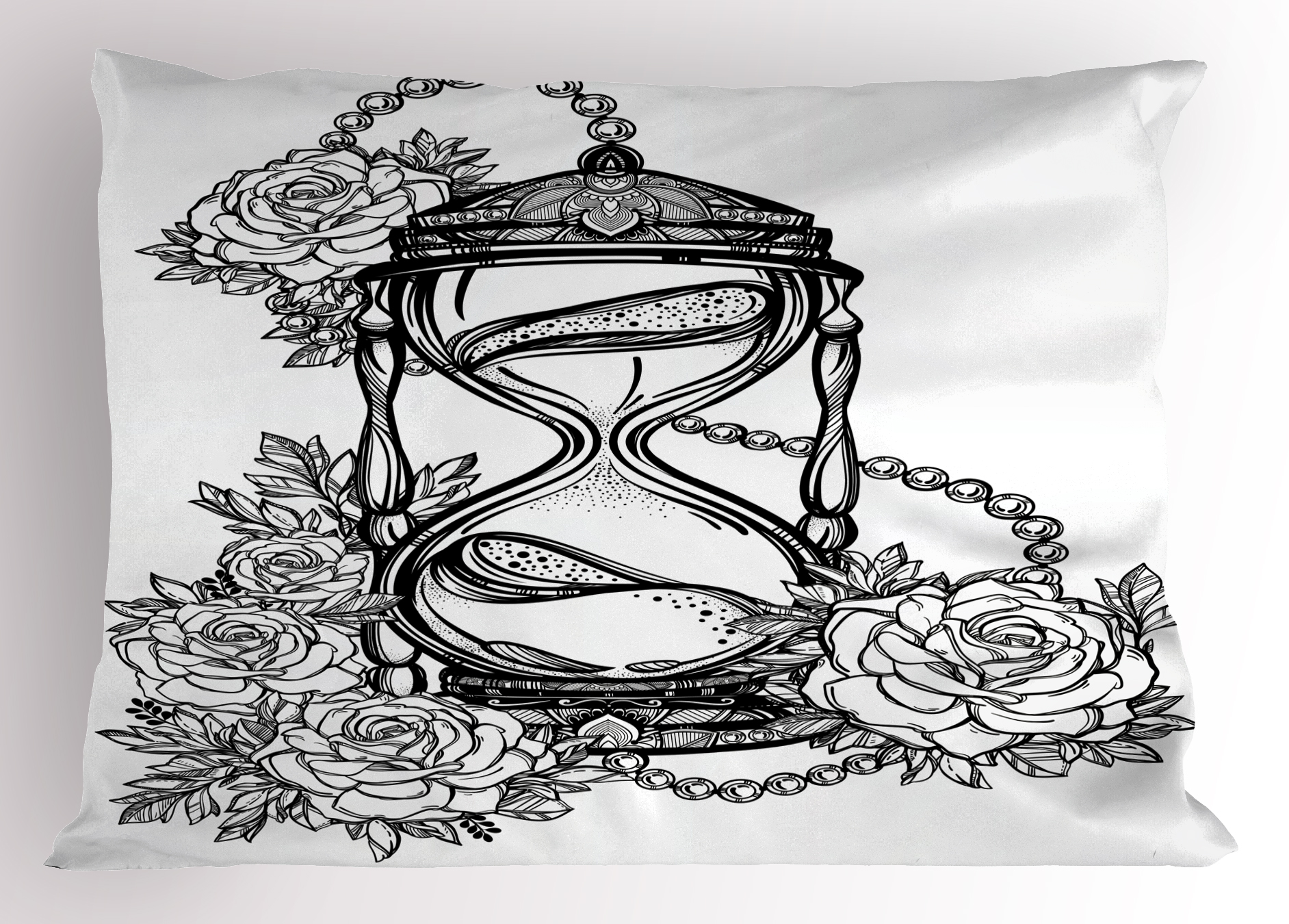 Tattoo pillow sham pencil drawing romantic theme hourglass symbol of eternal love with roses print decorative standard king size printed pillowcase