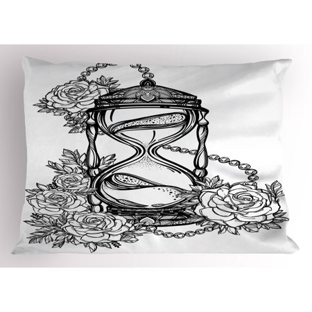 8b737636b Tattoo Pillow Sham Pencil Drawing Romantic Theme Hourglass Symbol of  Eternal Love with Roses Print,