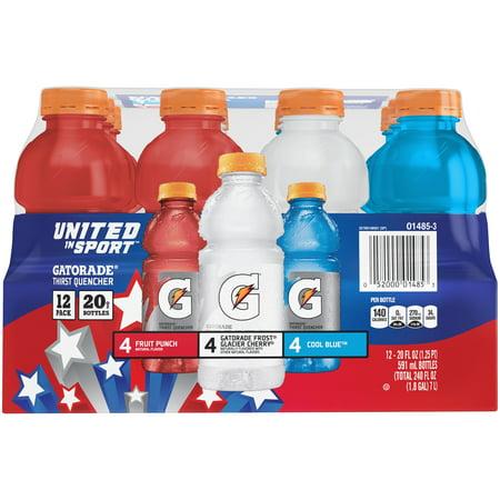 Gatorade United In Sport Thirst Quencher Sport Drink, Variety Pack, 20 oz Bottles, 12 Count