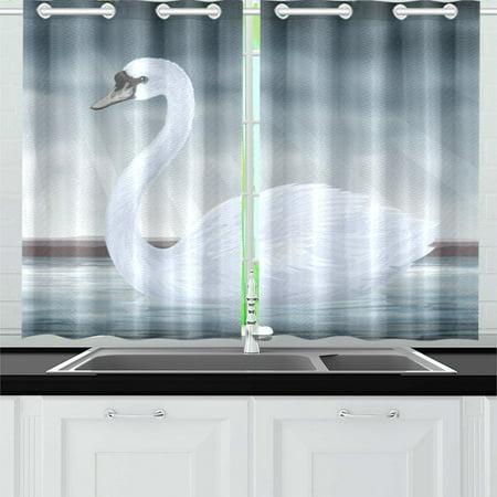 - MKHERT Graceful White Mute Swan Window Curtain Kitchen Curtains Window Treatments 26x39 inch,Set of 2