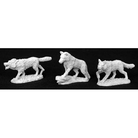 3 Channel Miniature (Reaper Miniatures Wolf Pack (3 Pieces) #02830 Dark Heaven Unpainted)