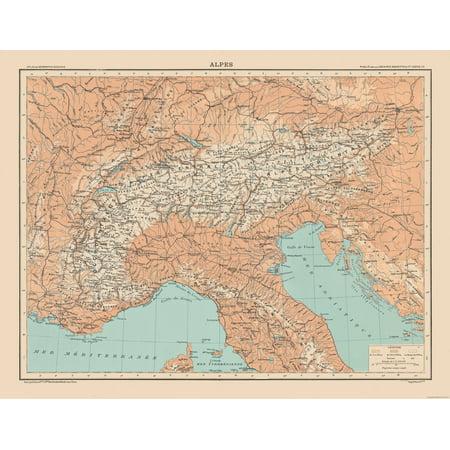 International Map - Alps - Schrader 1908 - 29.59 x 23 - Walmart.com