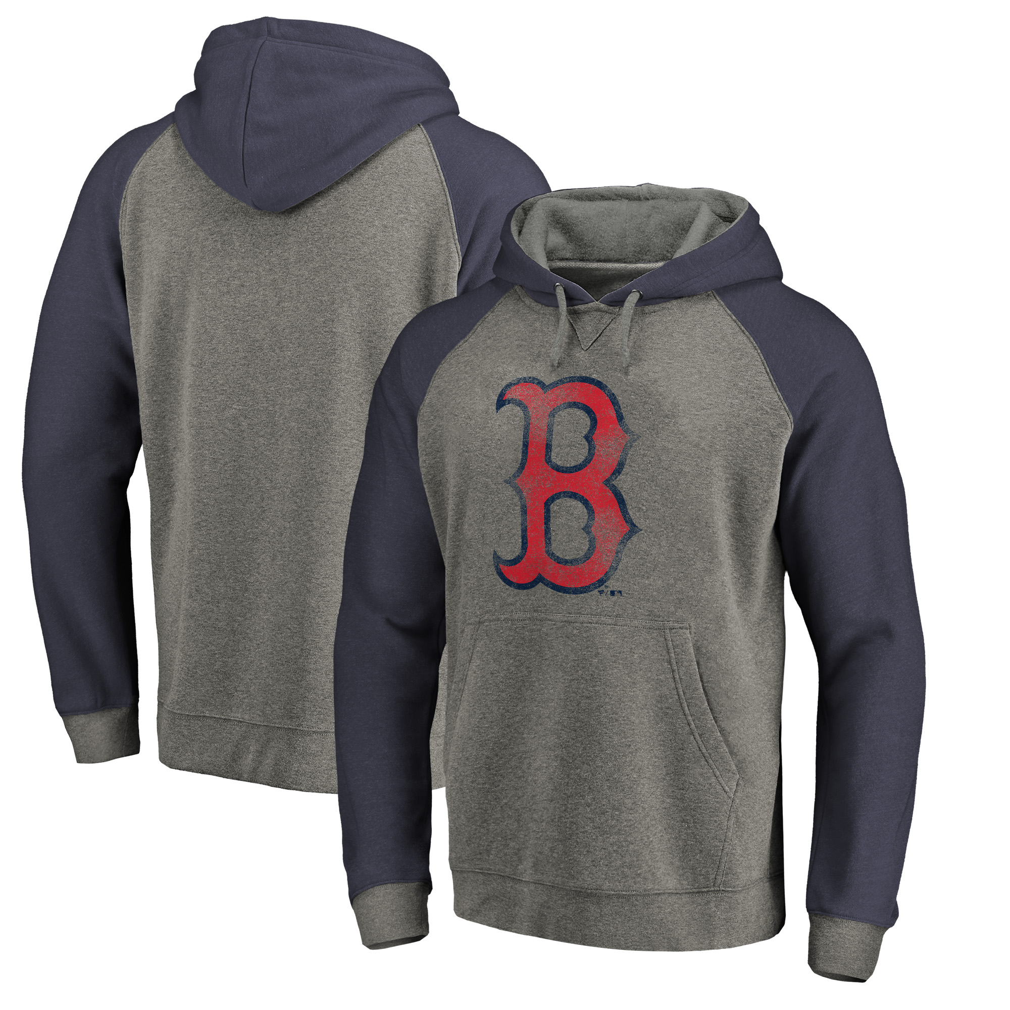 Boston Red Sox Fanatics Branded Distressed Team Logo Tri-Blend Raglan Pullover Hoodie - Gray/Navy