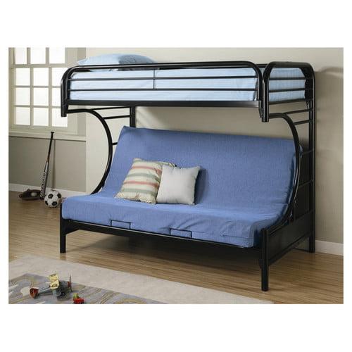 Coaster C Style Twin Over Full Futon Metal Bunk Bed Black Walmart Com