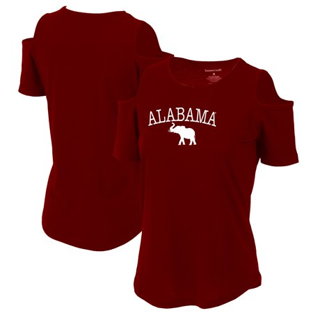 Alabama Crimson Tide Women's Plus Size Cold Shoulder T-Shirt - Crimson ()