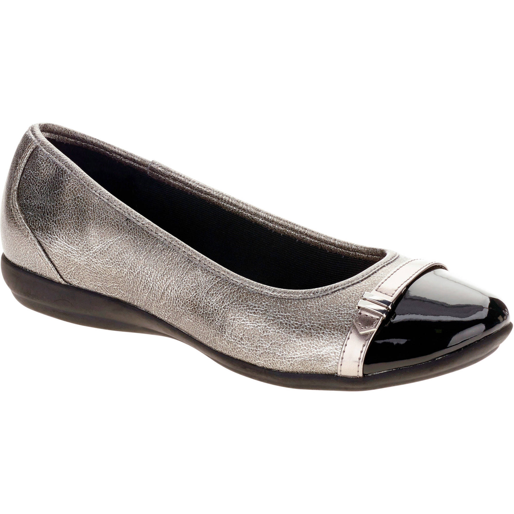 FADED GLORY WOMENS BUCKLE CAP TOE BALLET FLAT
