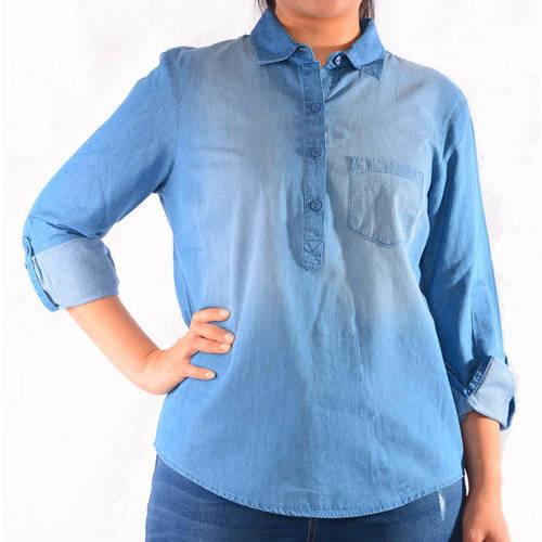 Faded Glory Women's Button Popover Denim Shirt