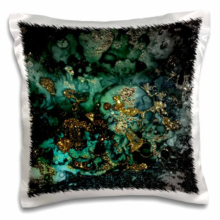 3dRose Art print of Dark Green Indigo Gold Marble Agate Malachite Quartz - Pillow Case, 16 by 16-inch