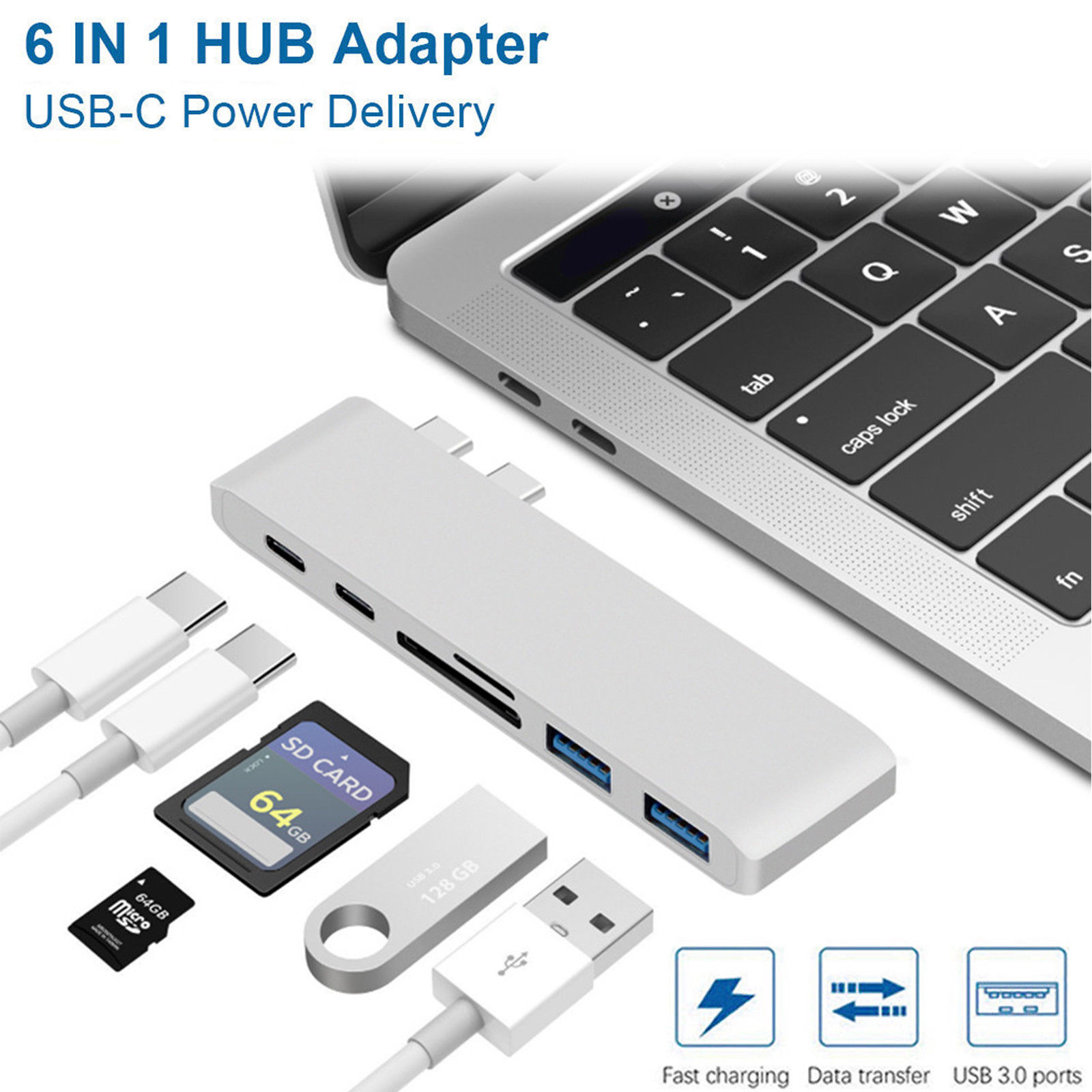 EEEkit Type C Hub, Aluminum USB C Adapter for 2016/2017 MacBook Pro 13in and 15in with 2 USB 3.0 Ports, SD/Micro SD Card Reader, Thunderbolt 3 Fast 40GB/S Type C Charger Port and USB C Port (Sliver)