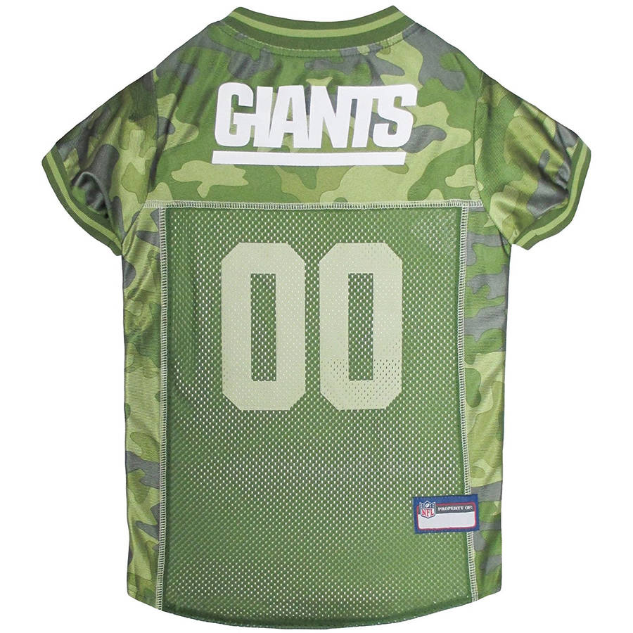 Pets First NFL New York Giants Camouflage Jersey For Dogs, 5 Sizes Available, Pet Shirt For Hunting, Hosting a Party, or Showing off your Sports Team