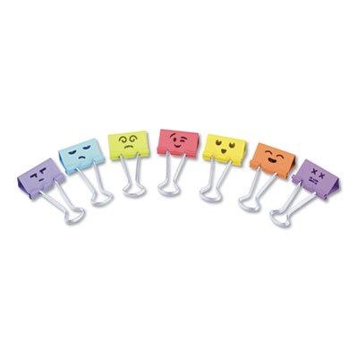 Emoji Themed Binder Clips in Dispenser Tub, Medium, Assorted Colors, 42/Pack