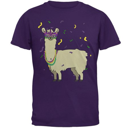 Beaded Cotton T-shirt (Mardi Gras Llama Beads Mask Mens T Shirt)