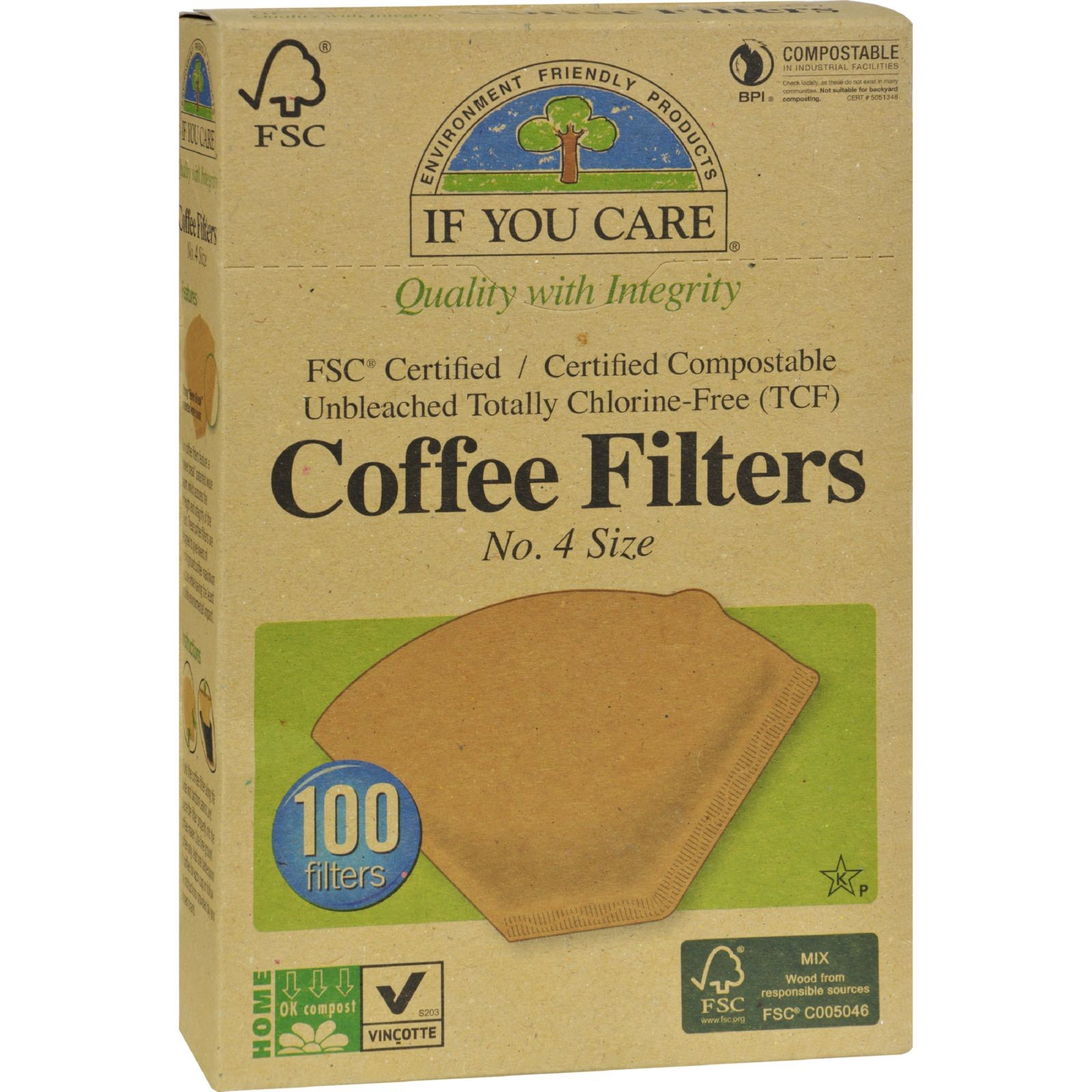 If You Care #4 Natural Brown Cone Coffee Filters, 100 Ct by If You Care