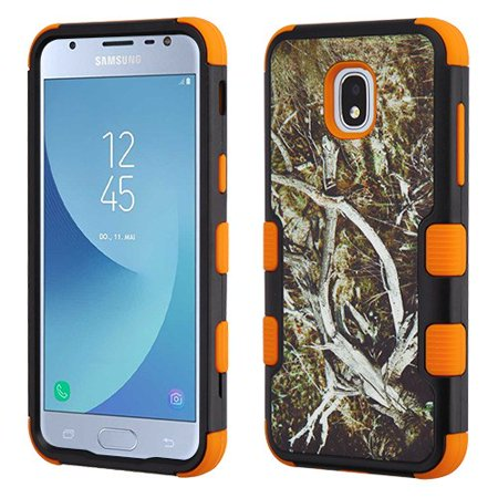 - Samsung Galaxy J3 2018, J337, J3 V, J3 3rd Gen, J3 Star, J3 Achieve, Express Prime 3 Phone Case Tuff Hybrid Shockproof Rubber Dual Layer Soft Protective Hard Case Cover Textured Vine Orange Phone Case