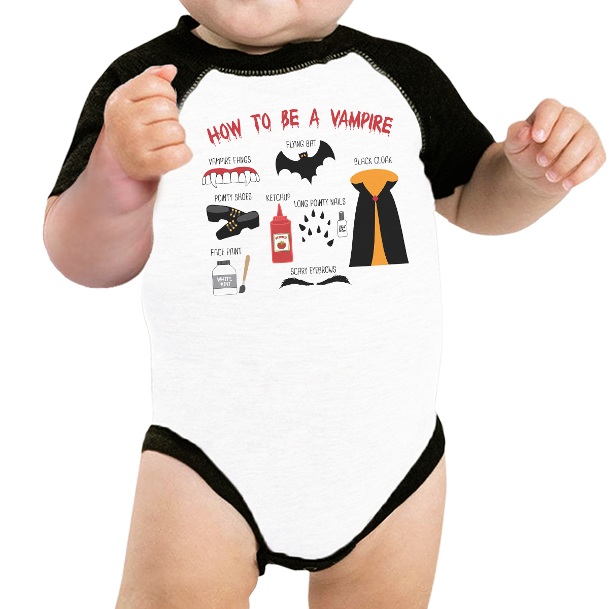 How To Be Vampire Halloween Tshirt For Baby Graphic Raglan Bodysuit