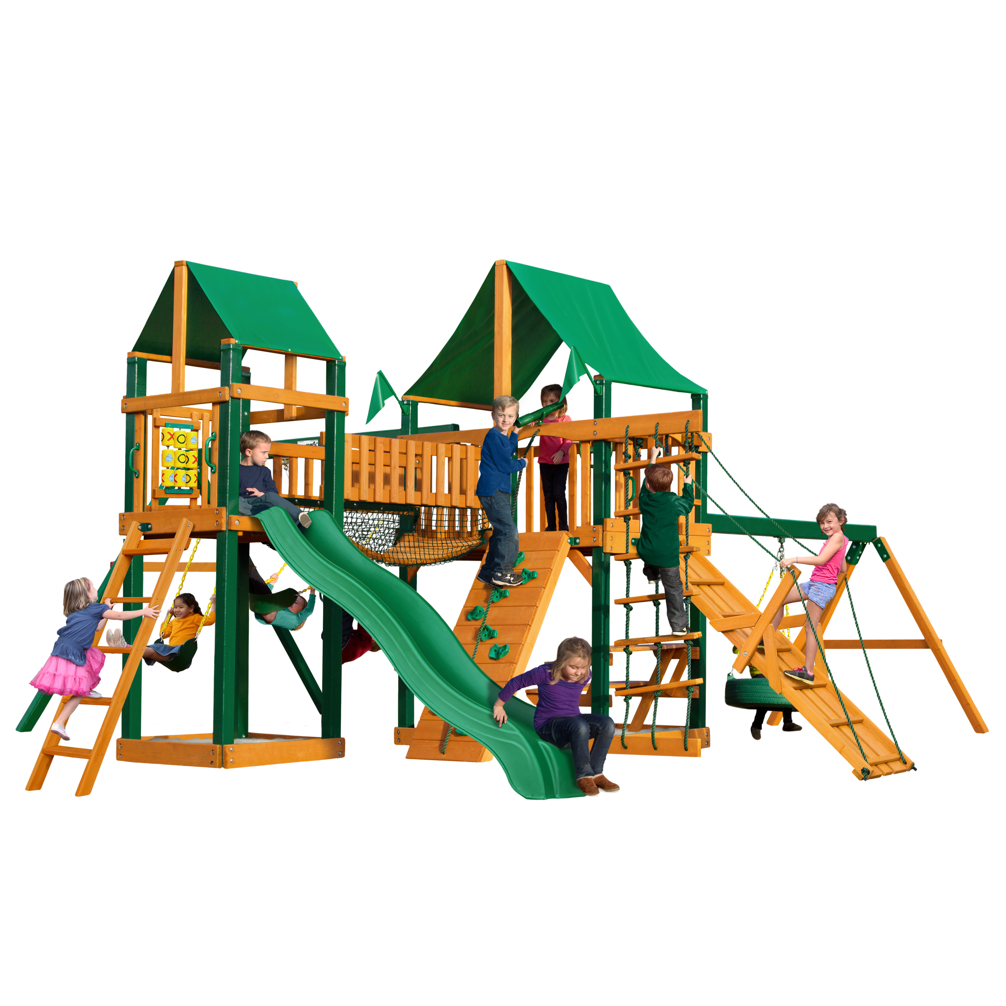 Gorilla Playsets Pioneer Peak Cedar Swing Set with Green Vinyl Canopy and Timber Shield Posts