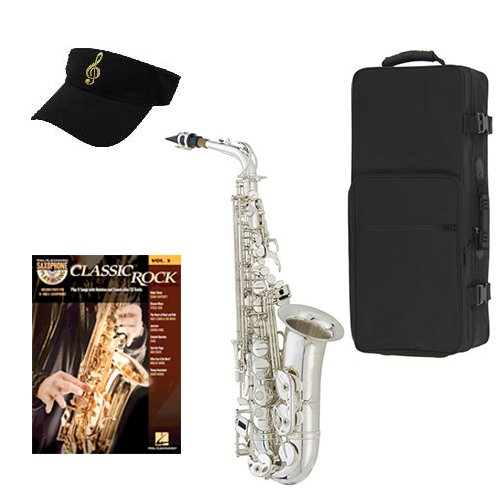 Classic Rock Silver Alto Saxophone Pack Alto Sax w Case, Accessories, Classic Rock Play... by Band Directors Choice