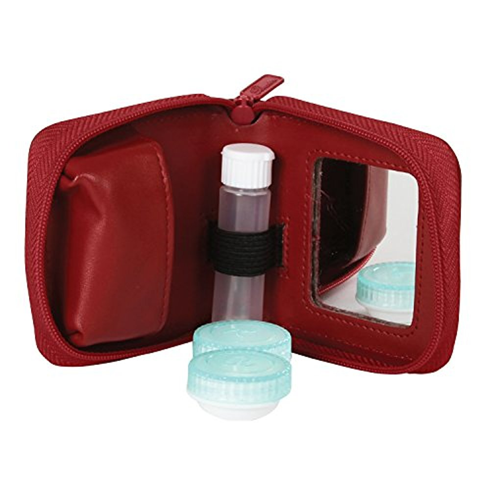 Buxton Womens Leather Contact Lens Case with Built-in Mirror (Burnt Orange)