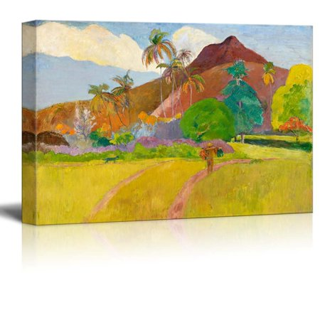 Famous Art Reproductions - wall26 - Tahitian Landscape by Paul Gauguin - Canvas Print Wall Art Famous Painting Reproduction - 12