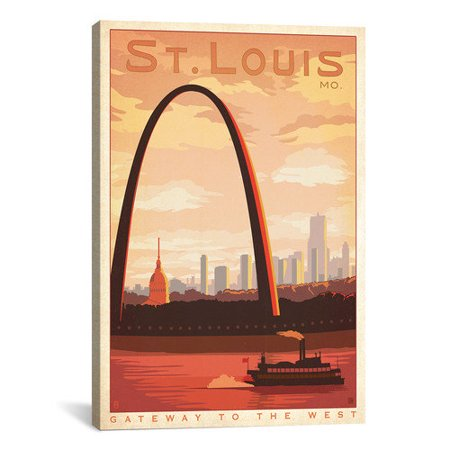 iCanvas Gateway to the West, St. Louis, Missouri by Anderson Design Group Vintage Advertisement on Canvas