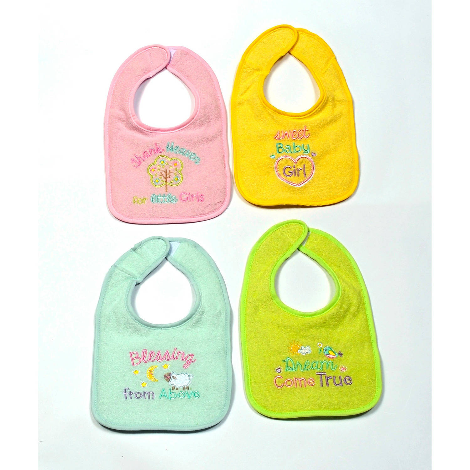 4 Pk Girl Bib w/ Heavenly Saying