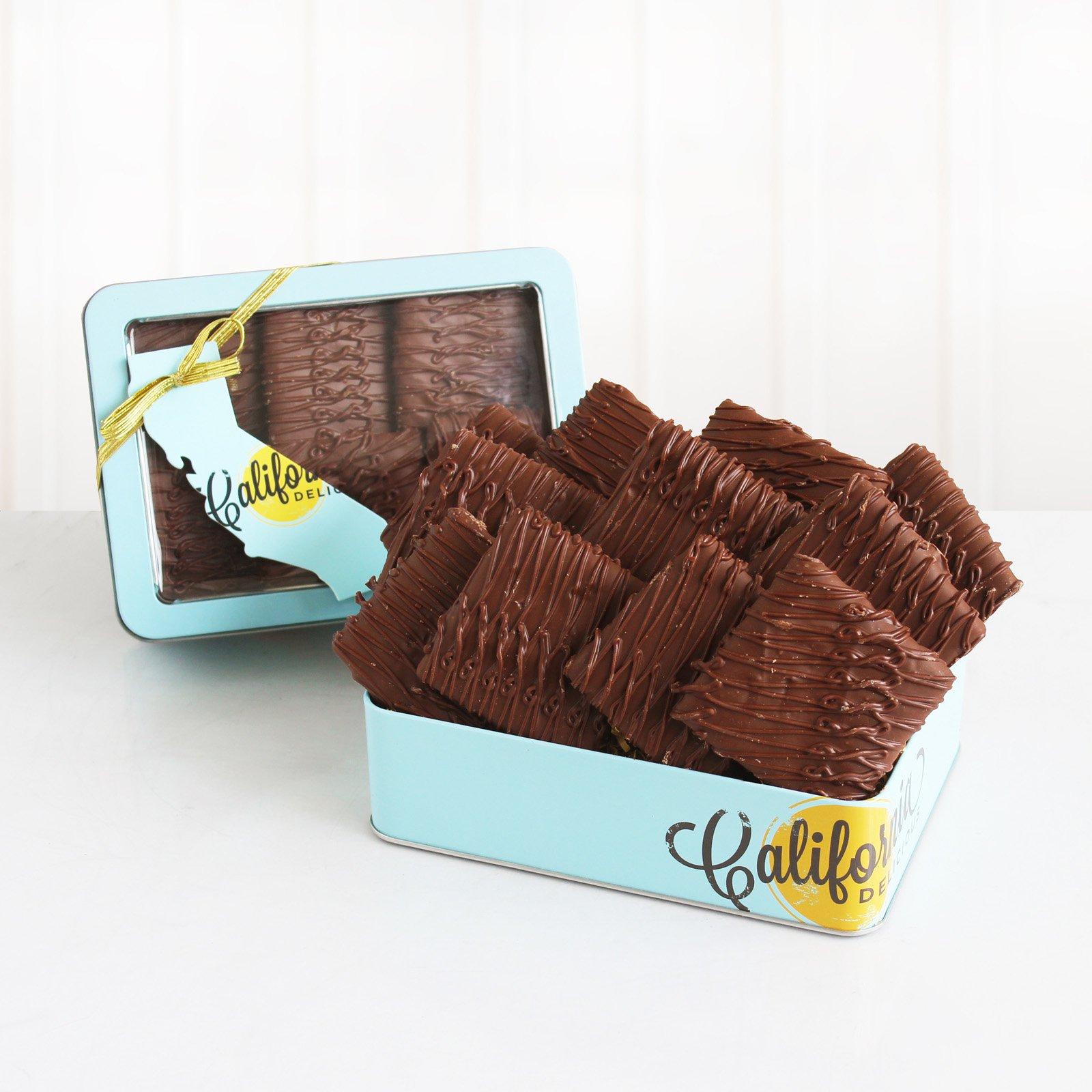 Jos Milk Chocolate Grahams Decorative Tin Gift Basket