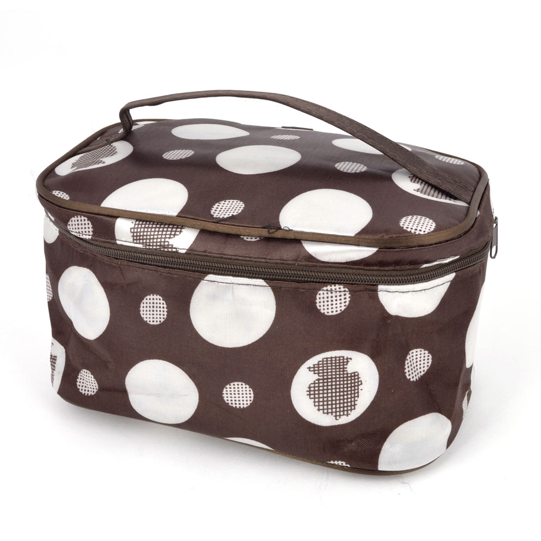 Ladies Portable Dot Pattern Cosmetic Makeup Bag Pouch Case Brown White