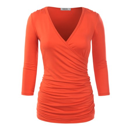 90173a05bc3e7 Doublju Women s V Neck Twist Knot Ruched Empire Waist Slimming Tunic Top  Blouse CORAL 2XL Plus Size