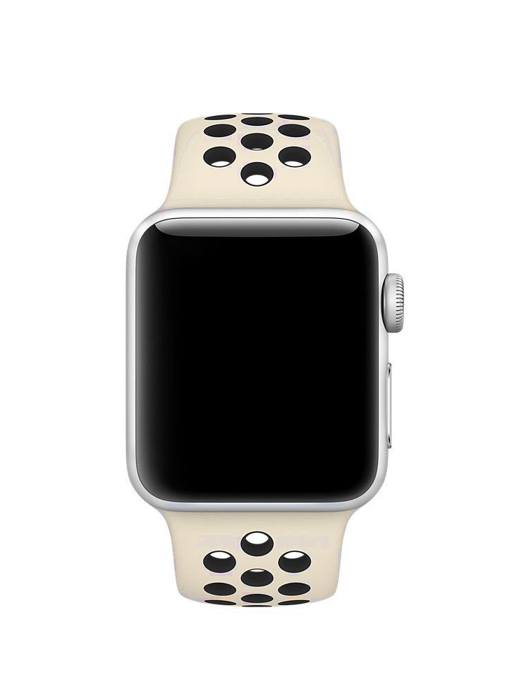 PASBUY 90B Replacement Sports Silicone Bracelet Strap Band for Apple Watch Series 3/2/1 (Beige + Black 42mm S/M)