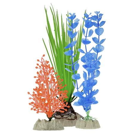 GloFish Yellow, Orange & Blue Aquarium Plant Decoration, -