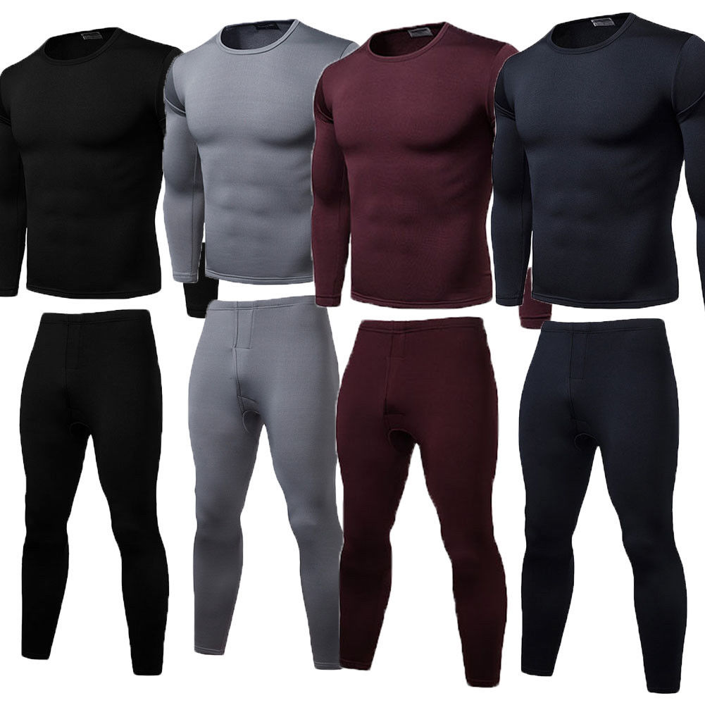 Thermal Underwear Set Winter Long Johns Men Warm 2pcs Tops Bottom Cotton
