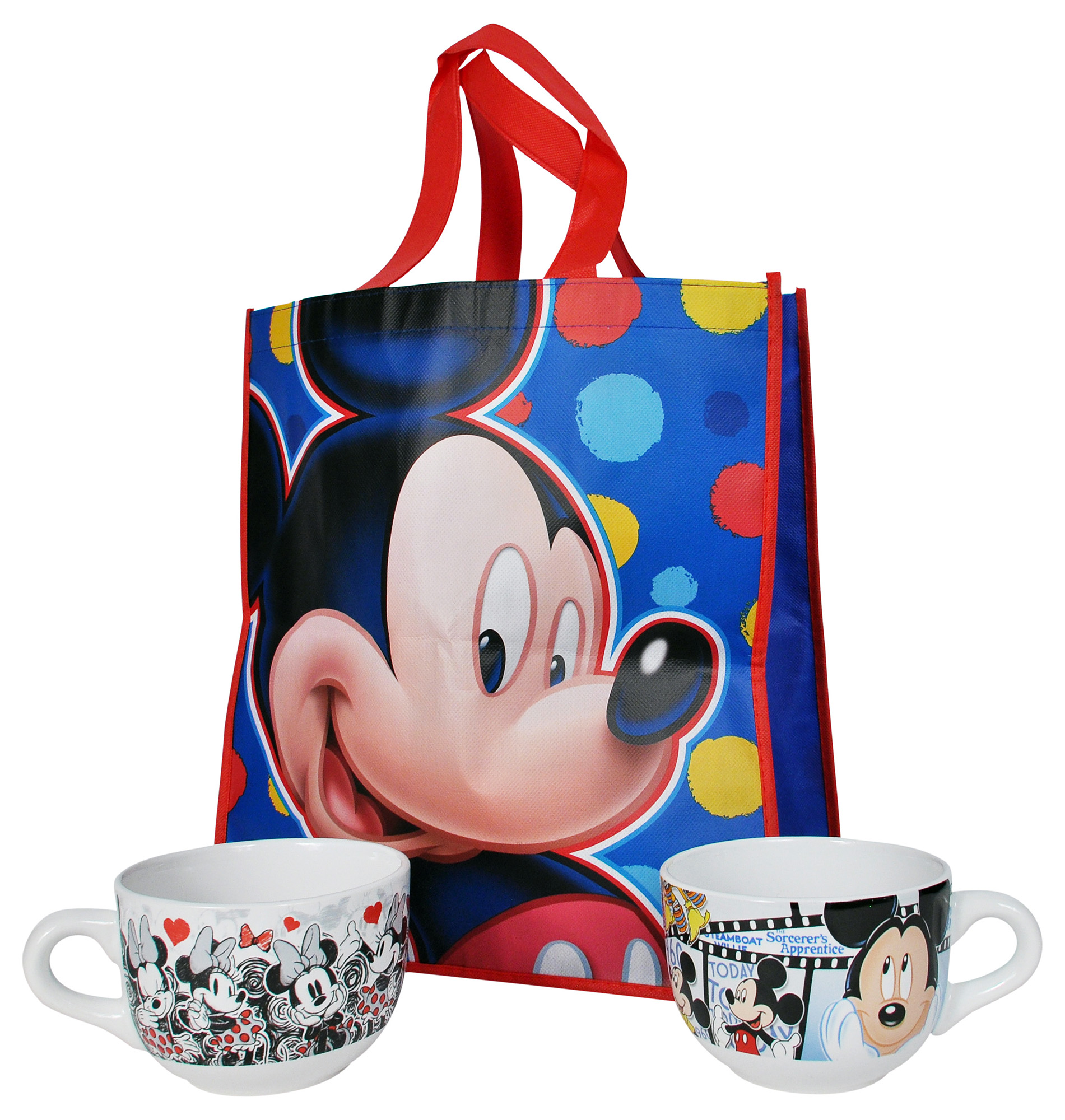 Disney Mickey & Minnie Mouse Soup Mugs w/ Gift Bag 3PC Set