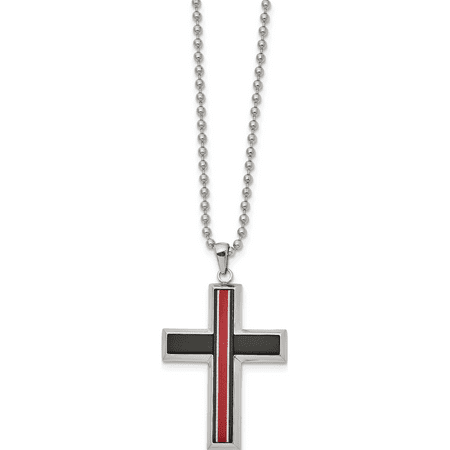 Stainless Steel Brushed & Polished w/Fiber Glass 22in Cross Necklace - image 2 de 2