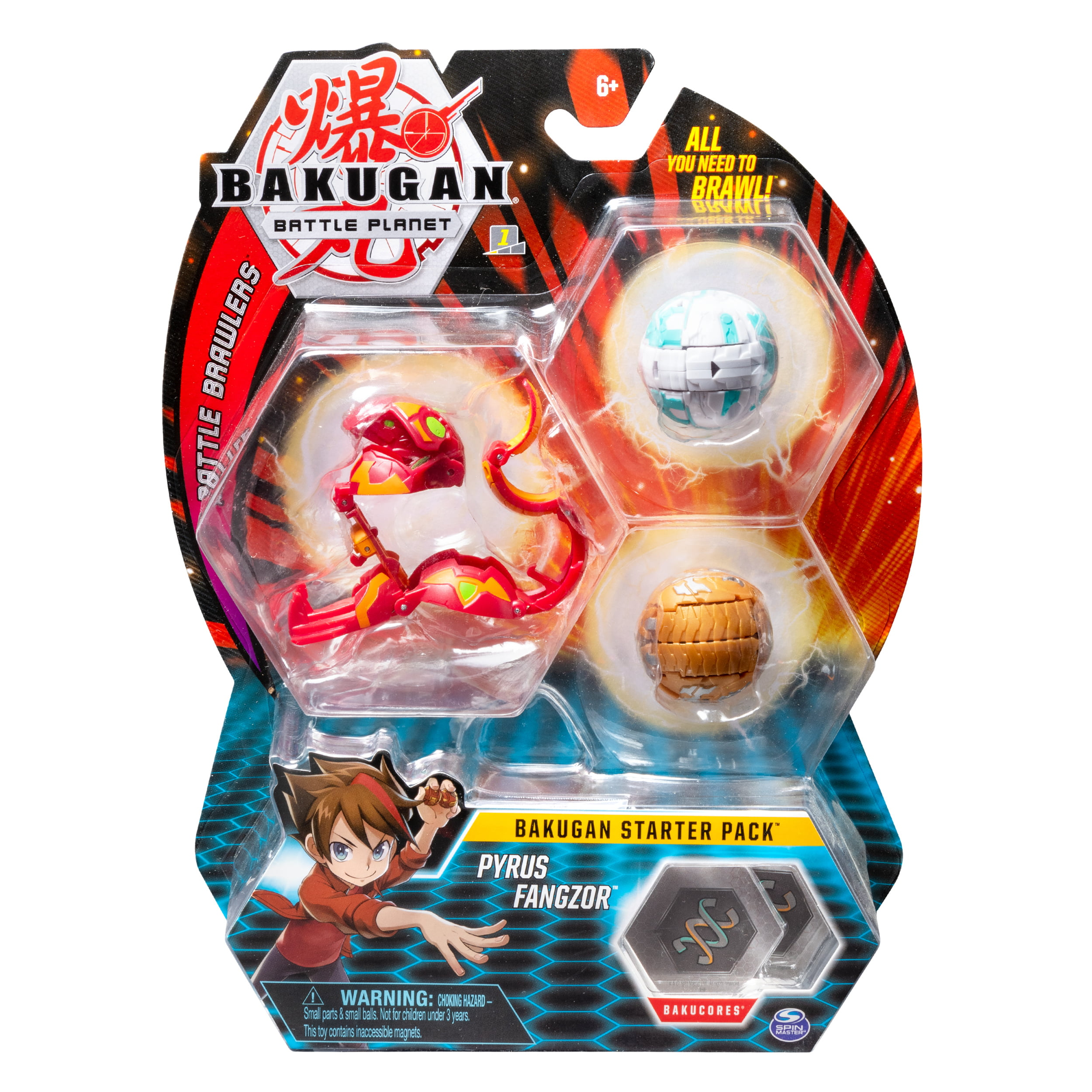 Bakugan Starter Pack 3-Pack, Pyrus Fangzor, Collectible Action Figure Sets, for Ages 6 and Up