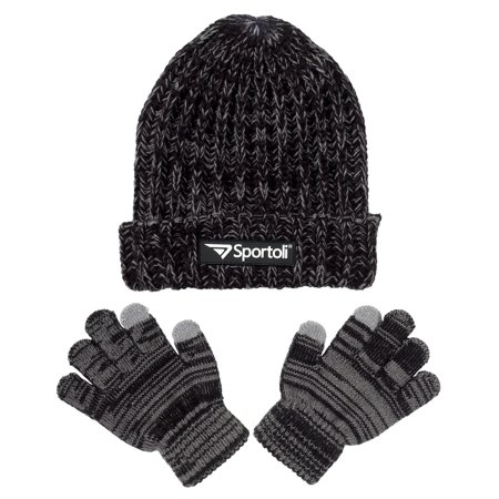 bd00cf0b3c5b35 Sportoli - Men s and Boys  Kids 2-Piece Marled Knit Cold Weather Accessory Set  Warm Pull On Hat Scarf and Gloves - Walmart.com
