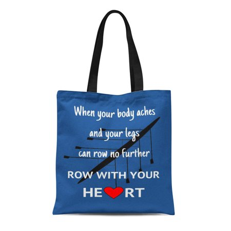 LADDKE Canvas Tote Bag Rowing Row Your Heart Inspirational Crew Rower Eight Motivate Reusable Handbag Shoulder Grocery Shopping Bags