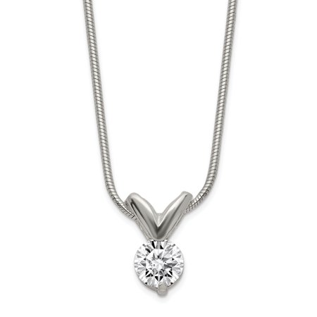 - 925 Sterling Silver Cubic Zirconia Cz Pendant Chain Necklace 18 Inch Charm For Women
