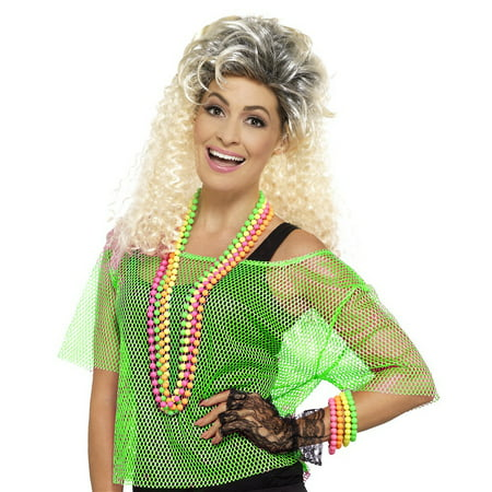 80s Fishnet Top Adult Costume Green - Medium/Large - 80s Hair Band Costume