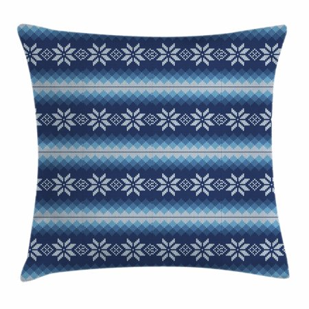 Throw Knitting Pattern (Winter Throw Pillow Cushion Cover, Traditional Scandinavian Needlework Inspired Pattern Jacquard Flakes Knitting Theme, Decorative Square Accent Pillow Case, 18 X 18 Inches, Blue White, by)