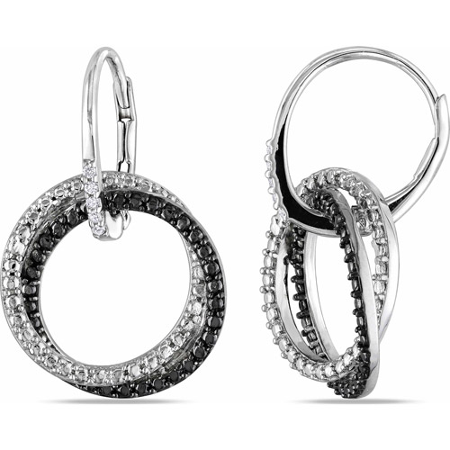 Diamond Accent Sterling Silver Leverback Circle Earrings