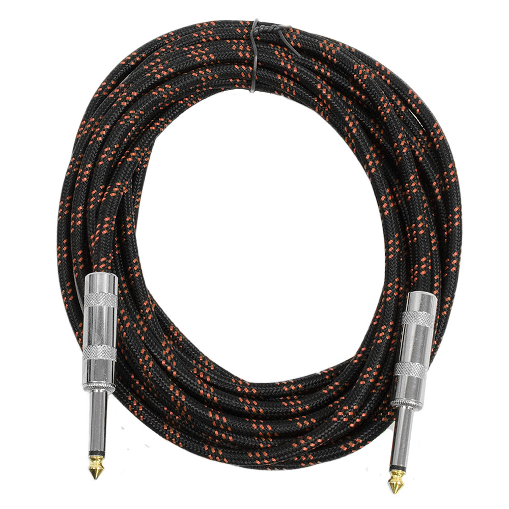 "Seismic Audio  - 1/4"" Guitar Cable - Woven Cloth 18 Feet Cord - Tweed Black & Red Black - SAGCSBR-18"