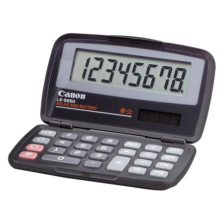 Canon Ls555h Wallet Calculator   Hard Shell Cover  Auto Power Off   8 Digits   Lcd   Battery Solar Powered   4 3   X 2 9   X 0 6     Black   1 Each